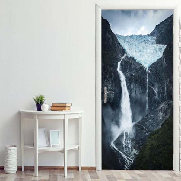 High Mountain Waterfall 3D Pattern Door Sticker Mural Living Room Wall Background DIY Landscape Painting Self adhesive Door Wallpaper