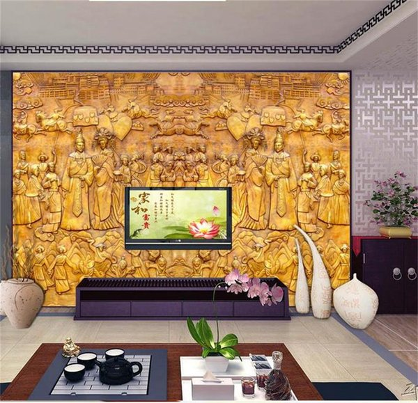 custom size 3d photo wallpaper living room wall murals gold-plated relief ancient China picture sofa TV backdrop wallpaper non-woven sticker