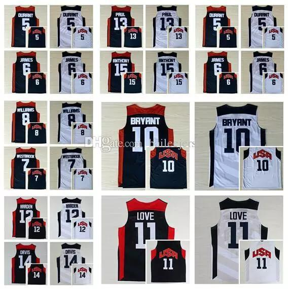 best service 6a94d 7ae33 2018 USA Dream Team 2012 USA Jersey 5 Kevin Durant 6 LeBron James 11 Kevin  Love 15 Carmelo Anthony 13 Chris Paul 8 Deron Williams 10 Kobe Bryant From  ...