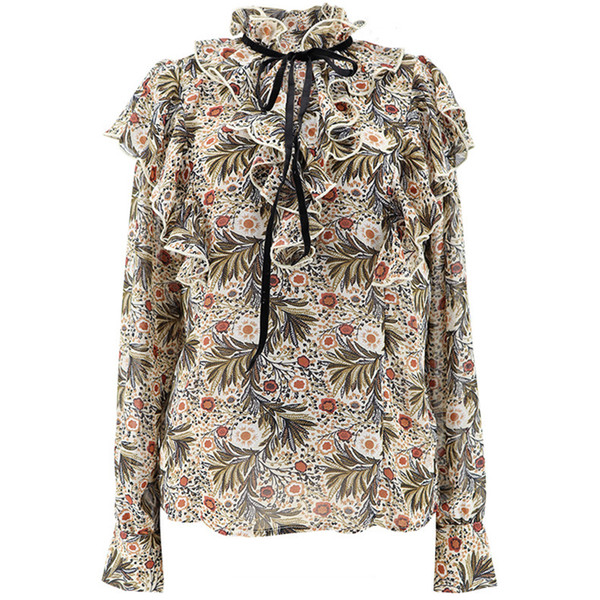 Camicie donna all'ingrosso 2019 primavera nuovo stile retrò italiano romantico piccolo floreale arricciato cinghie piccolo collo colletto sottile camicia in chiffon