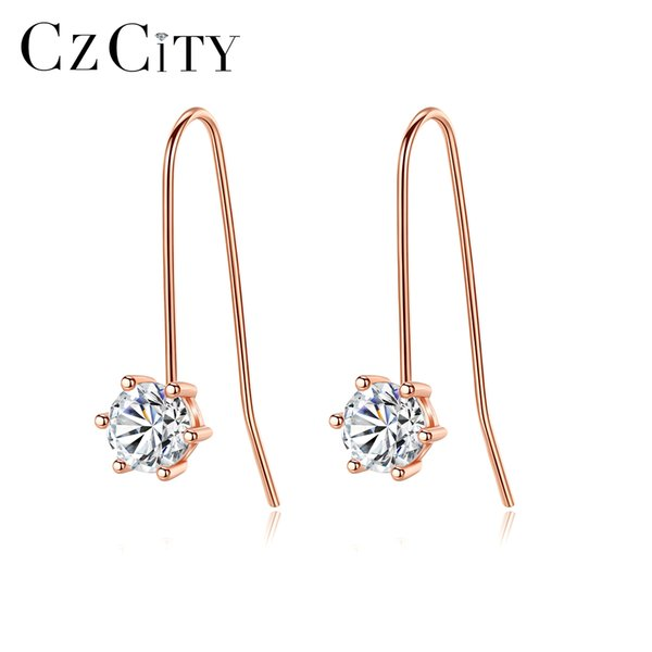 PAG&MAG Brand Trendy CZ Crystal Dangle Earrings For Women Genuine 925 Sterling Silver Rose Gold Color Jewelry Silver Earrings