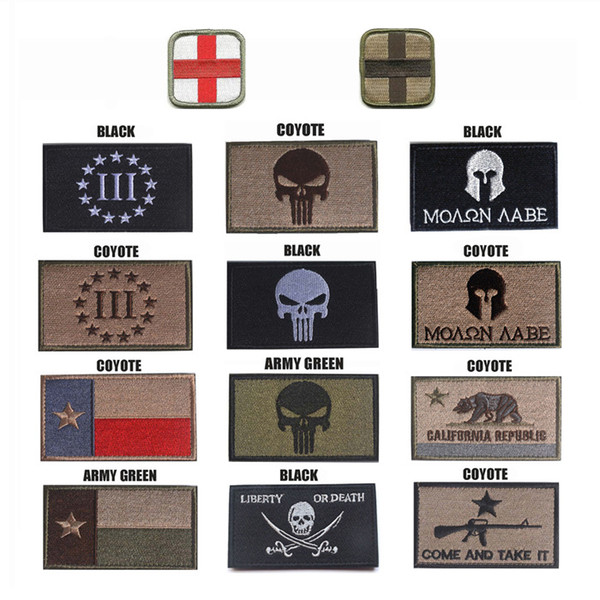 8*5CM 3D Tactical Patches Punisher Armband Embroidery Patch for Hat Badges Hook And Loop Fastener 21 Styles Support FBA Drop Shipping M289F