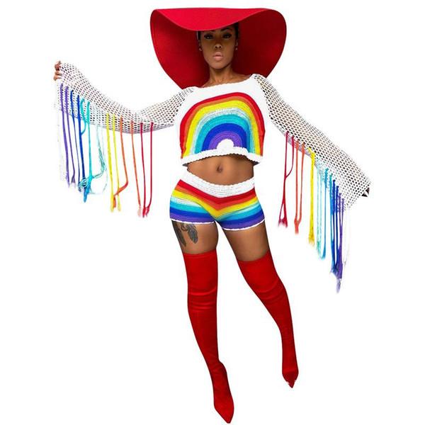 3XL Gökkuşağı Renk Eklenmiş Seksi 2 Parça Set Bahar Uzun Kollu Püskül Kırpma Üst Ve Hollow Örme Şort Kadın Parti Kıyafet