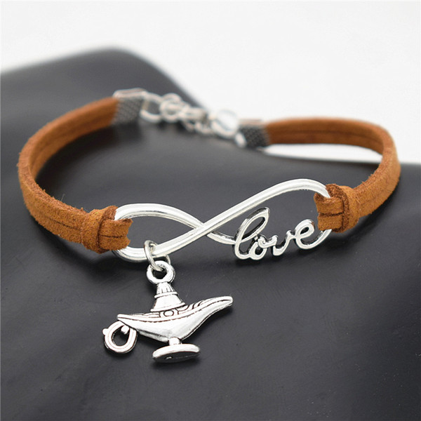 New Creative Gifts Party Unique Novelty Jewelry Antique Silver Aladdin Magic Lamp Charm Pendant Infinity Love Brown Leather Suede Bracelets