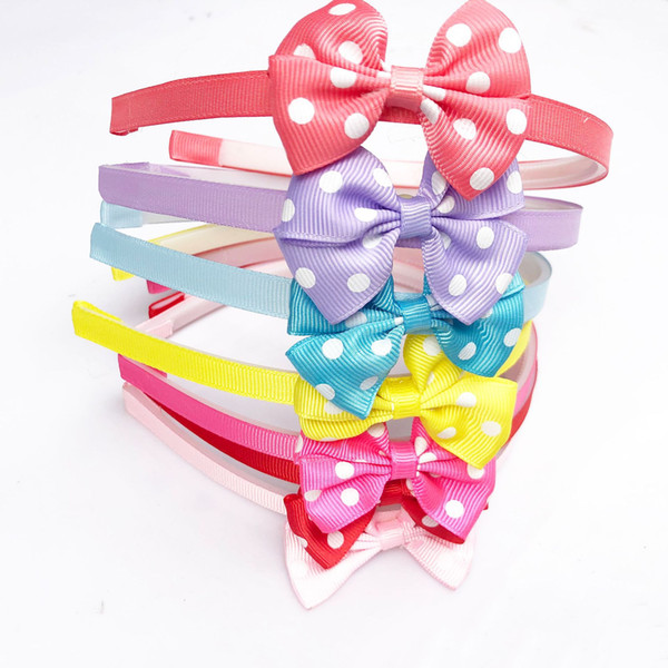 Baby Dot Ribbon Bow Hair Accessories Newborn Girls Hair Bows Hairbands Pretty Infant Trendy Hair Stick
