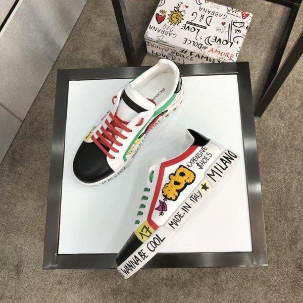 2020R новые граффити кожа пара прогулочной обуви, белый моды диких мужчин и женщин, спортивная обувь, LuxuryLouisVuittonDolceGabbana Размер: 35-45
