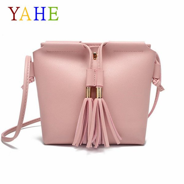 Cheap YaHe Fashion Tassels Shoulder Bags Womens Soft Leather Phone Pouch Childrens Mini Cross Over Body Pack For Teenager Girls Kids