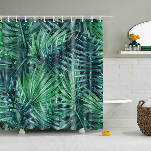 Зеленые растения Тропические занавески для душа ванной водонепроницаемый полиэстер душевой занавес Листья печати занавески для ванной душ Home Decor