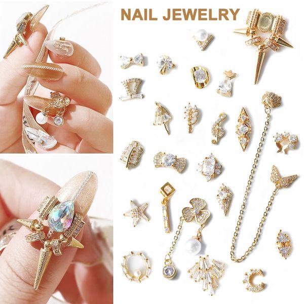5pcs ladies nail art glittering crystal diy manicure rhinestone beads nail art oa66
