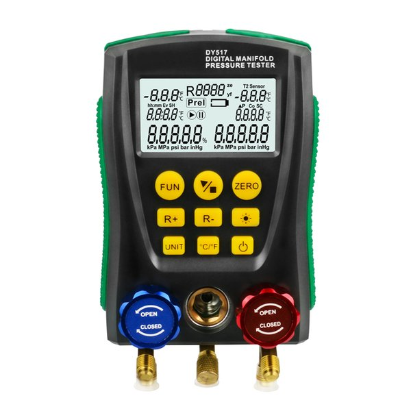 DY517 Refrigeration Gauge Manifold Digital Meter HVAC Vacuum Pressure Temperature Tester Leakage Test Tool Electronic Instrument