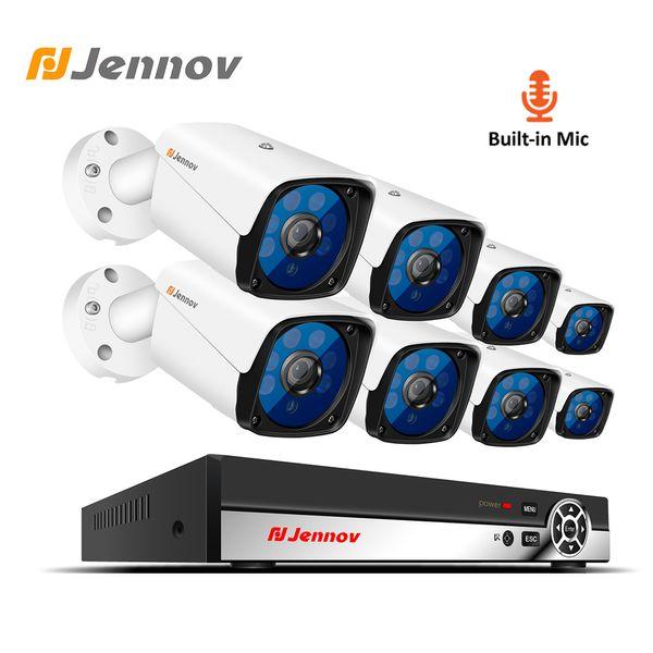 Jennov 2MP HD Audio Record System 8CH 1080P CCTV-Set Videoüberwachung Kit Überwachungskamera-System P2P POE NVR Nachtsichtgerät