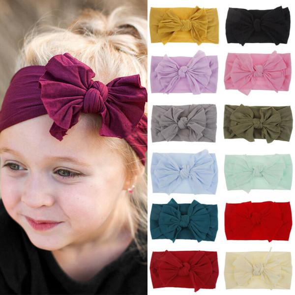 New Toddler Girls Baby Big Bow Hairband Headband Stretch Turban Knot Head Wrap