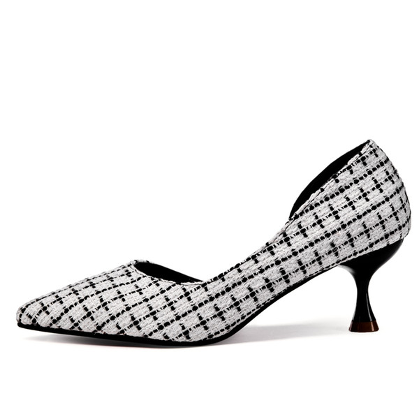 Designer Dress Shoes New Fashion Sexy Pointed Toe Woman High Heels Sandals Spring Ladies Wedding Party Pumps Dress Shoe Black White Grid