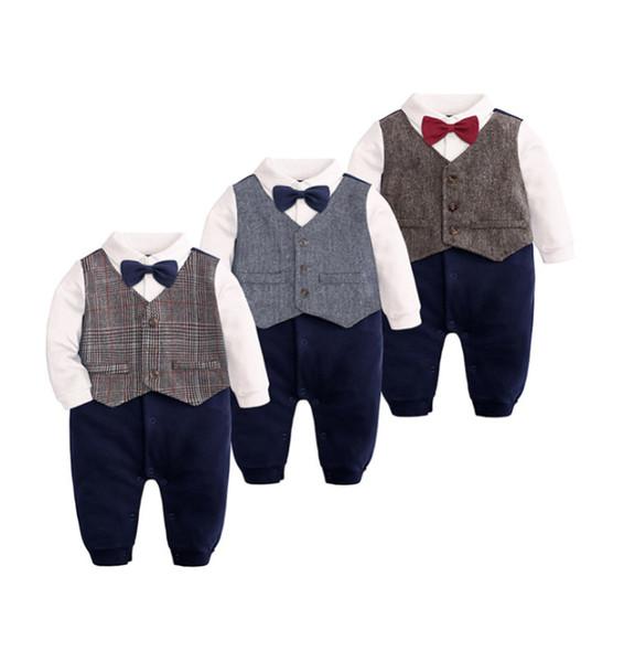 Bebê menino cavalheiro macacão de bebê recém-nascido de manga comprida macacões para 0-24 m colete gravata borboleta crianças roupas de criança