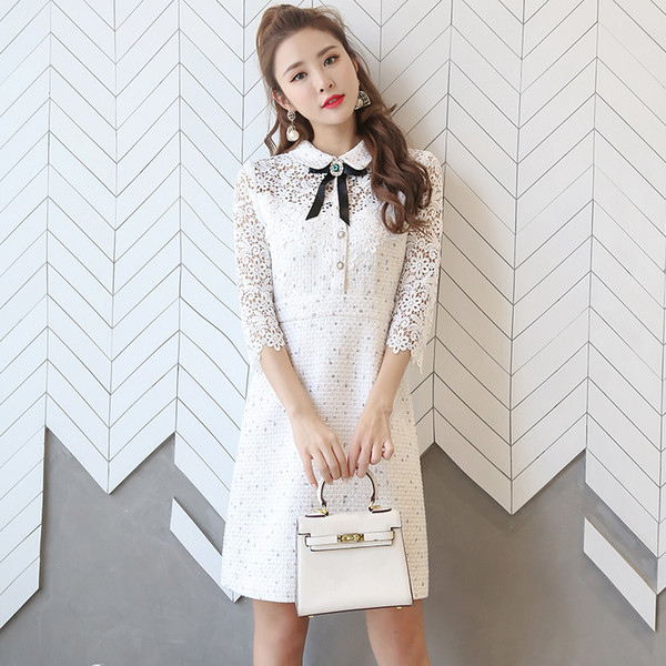 9ee309fdd Luxury Design 2019 Spring Wrist Sleeves Lace Patchwork Tweed Dress Bow A  Line Party Dress Female