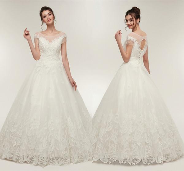 2019 белые свадебные платья O шеи с аппликациями с короткими рукавами линия тюль край с кружевами длинные платья невесты для женщин свадебные платья
