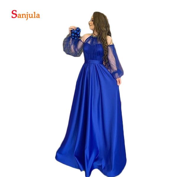 Halter A-Line Abito formale per donna Raso blu royal Abiti da sera eleganti Abiti lunghi da sera a maniche lunghe Abiti da sera arabi D1137