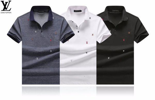 2019 à manches courtes T-shirt haut de gamme pour hommes de tendances de la mode hommes beau respirant revers absorbant la sueur pull-over A1068A23