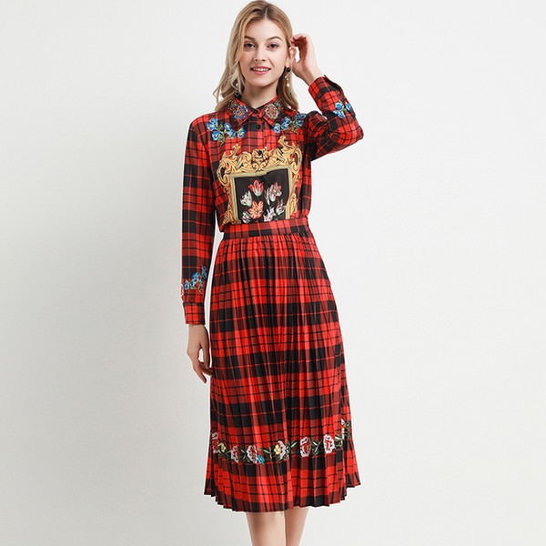 2020 Spring Fashion Plaid Women Sets High Quality Pretty 2 Pieces Full Sleeve Shirts +Pleated Skirts Red Slim Suits