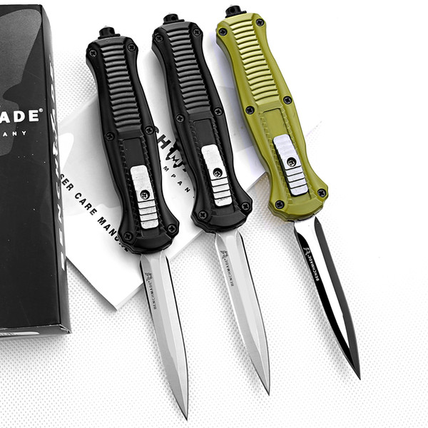 "top popular Wholesale latest Benchmade 3300 trumpt 3 ""aluminum handle Black   Green camping automatic knife tactical cutting tool with scabbard box 2021"