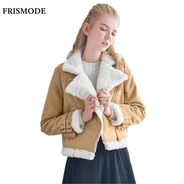 Frauen Winter Dicke Warme Wildleder Lammfell Jacke 2017 Neue Mode Langarm Rosa licht tan Doppelseitige Pelz Kurze Jacke mantel
