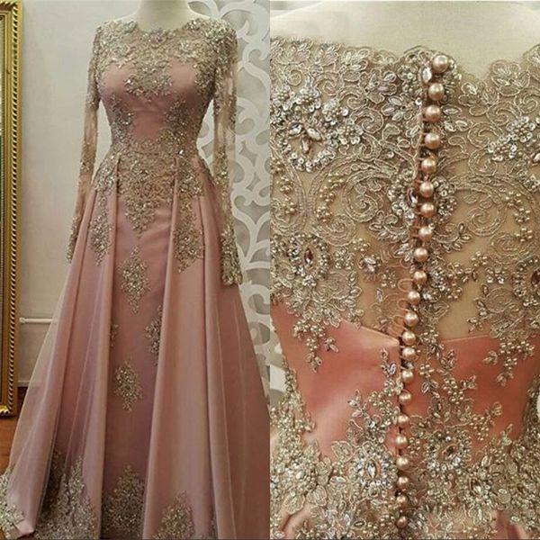 2019 Abiti da sera maniche lunghe Abiti da sera per le donne Pizzo Appliques di cristallo Abiye Dubai Caftano musulmano Prom Party Gowns