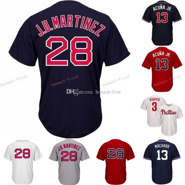 best sneakers 14480 f19d5 2019 28 J.D. Martinez Boston Jersey Red Sox Embroidery Men'S Majestic  Alternate Blue Red White Grey Official Cool Base Player Baseball Jerse From  ...