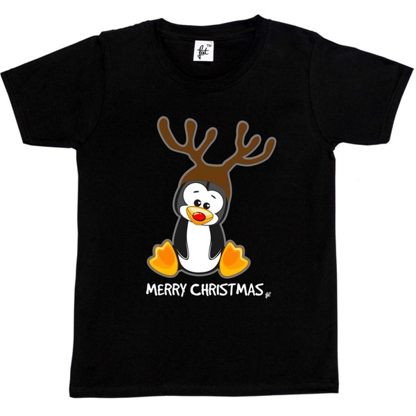 Christmas Penguin With Red Nose & Reindeer Antlers Kids Boys / Girls T-Shirt Brand shirts jeans Print Classic Quality High t-shirt