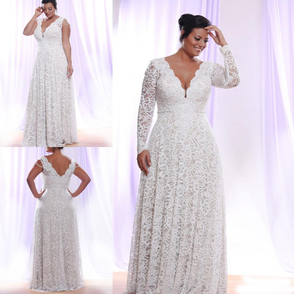Plus Size White Lace Evening Dress 2019 Long Sleeves Deep V Neck Floor  Length Mother Formal Prom Gowns Occasion Party Wears 2020 Cheap My Evening  ...