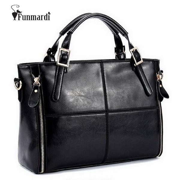 Funmardi Luxus Handtaschen Designer Split Leder Frauen Handtasche Marke Top-Griff weibliche Umhängetaschen Wlhb974 J190619