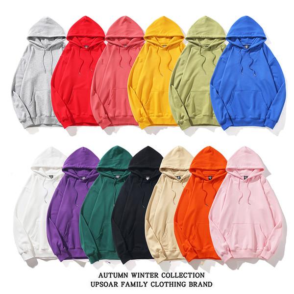 Nouveau style Pull des femmes des hommes de couleur solide Pull à manches longues à capuche confortable Hauts Streetwear Sweatershirt Automne Hiver