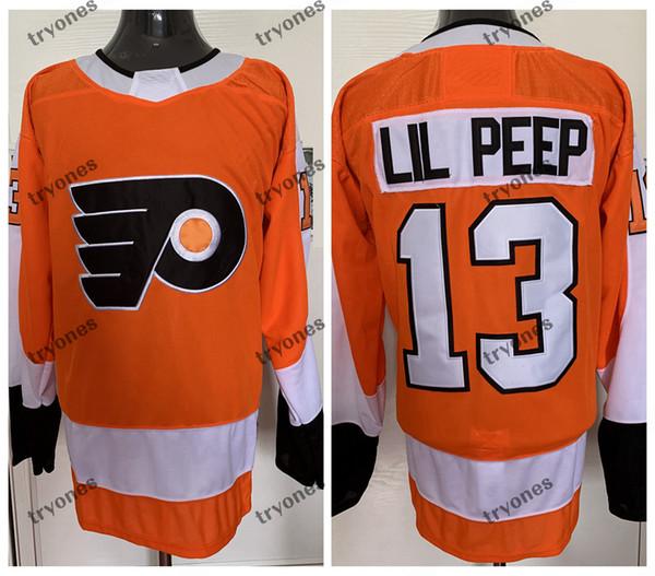 best selling Custom Fashion Star Lil Peep #13 Philadelphia Flyers Hockey Jerseys Stitched Name Number Orange Mens S-XXXL
