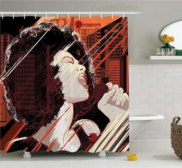 Afro Decor Shower Curtain, Jazz Singer Woman Performing on Grunge Background Ilustración de sonido musical, Juego de decoración de tela con gancho