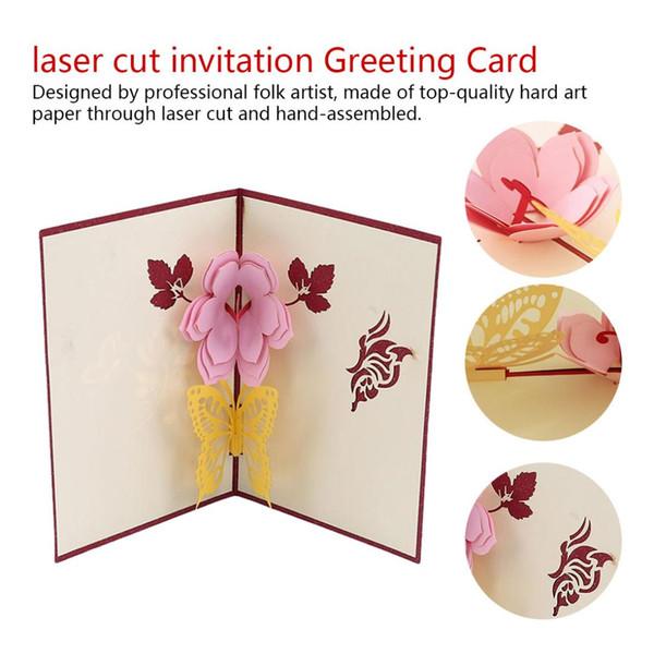 3D pop up cartões de flores cartão de aniversário presentes de aniversário cartão postal convites de casamento cartões