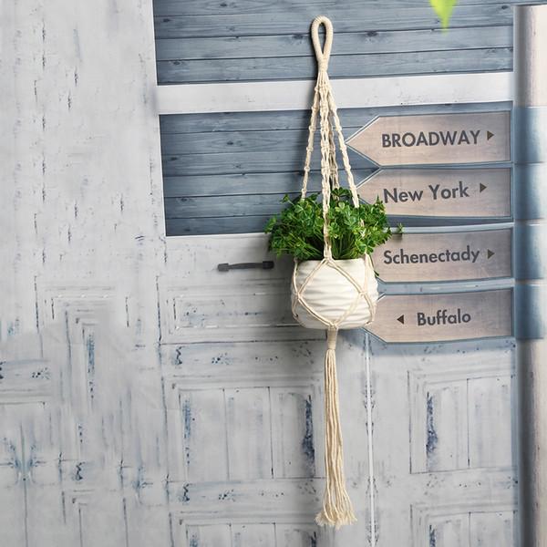 Colgante de plantas Macramé Cuerda de yute Vendimia Macetas Cesta Jardinera Balcón Maceta Percha Cuerda Decoración Pared