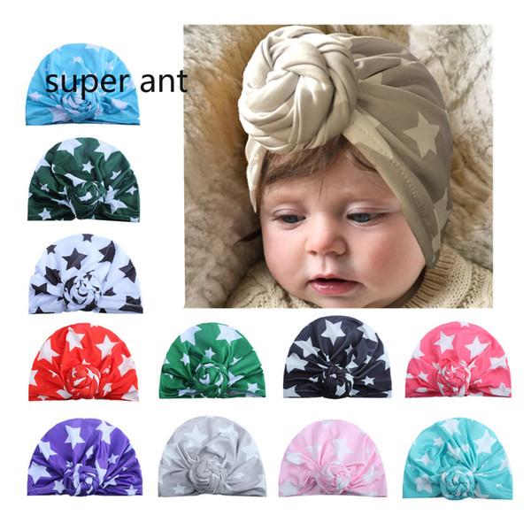 Il nuovo bambino a cinque punte stampa bambini cappello Cute Infant Toddler Unisex Ball Knot Turbante indiano Bambini Primavera Autunno Caps Ciambella