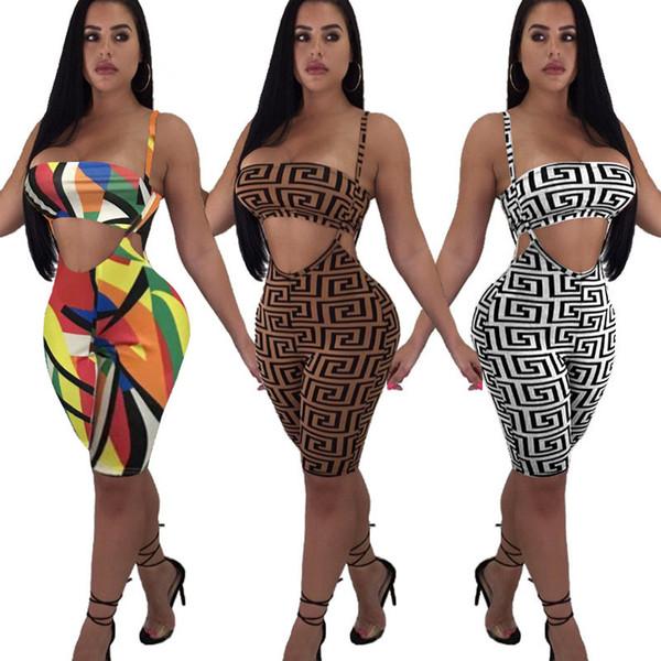 Diseñador para mujer Pantalones de dos piezas Patrón de moda Bikini + Pantalones cortos Active Beach Party Wear Impresión de lujo Mujeres Chándal al por mayor 3 estilos