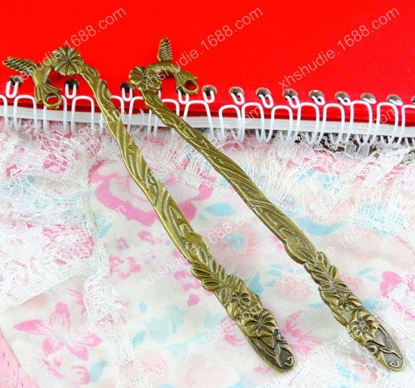 10pcs 122*21MM Antique bronze vintage hairpin women hair pin stick DIY handmade bohemian hairwear jewelry die-casting retro Bob bookmarks