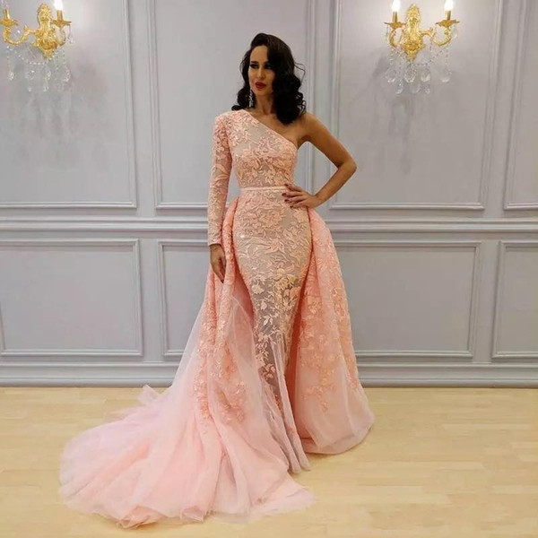 Peach Overskirt Mermaid Formal Dresses Evening Wear One Shoulder Long Sleeve Blush Peach Sweep Train Yousef Aljasmi Lace Floral Prom Dress