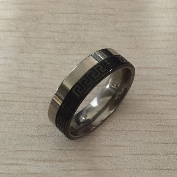 USpecial Punk black silver Stainless Steel Greek Key Ring 8mm men boys Wedding Band cheap price retail Comfort-Fit, sizes 7 - 12