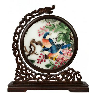 Wenge Wood Frame Home Decor Embroidery Painting Decoration Ornaments Chinese Ethnic Double Embroidery Pattern Silk Handicrafts Gifts