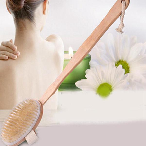 Naturel à long manche en bois à poils doux Corps de la brosse de massage Bain Douche Retour Spa Scrubber Bain de massage Outils Brosse RRA2144