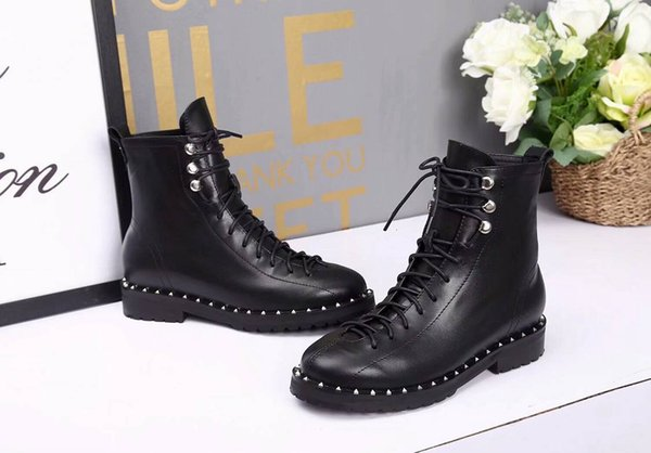 Best 2019 Autumn And Winter New Fashion Women Martin Boots Genuine Leather Lace-up Snow Boots With Rivet