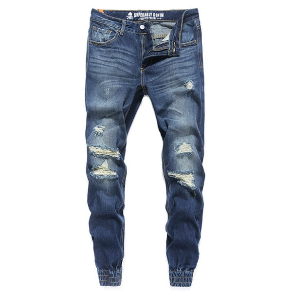 Fashion Streetwear Mens Jeans Blue Color Frayed Hole Ripped Jeans Men Jogger Pants Slim Fit Leg Open Ankle Banded Trousers
