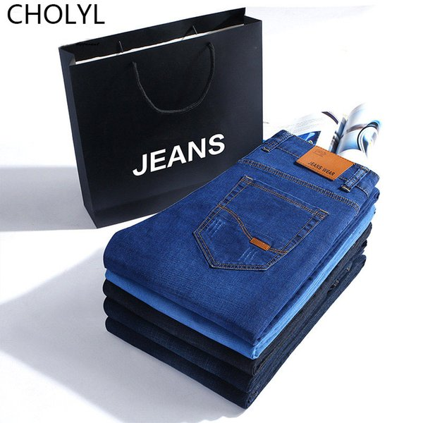 2019new men Brand Spring Summer Jeans Denim Mens Jeans Slim Fit Plus Size to 40 Big and Tall Male cotton Pants fashion jean