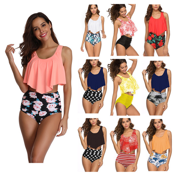 Women Two Piece Lotus Swimsuit Swimwear High Waist Floral Print Push-Up Padded