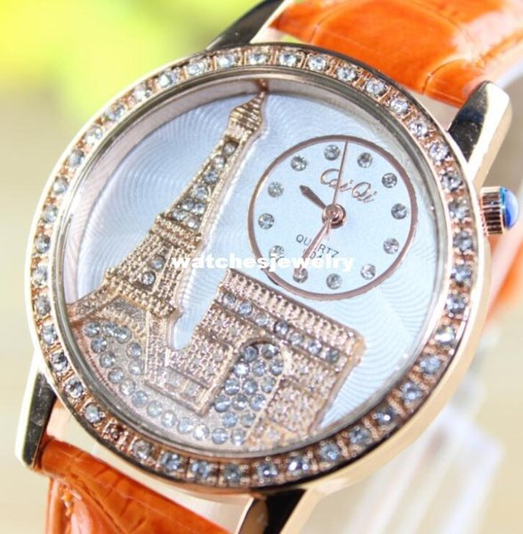 Women Dress Watches Tower Arc De Triomphe Casual Watch Rose Gold CaiQi  Analog Crystal Hours Ladies Quartz Watches Hot Online Shopping Clothes