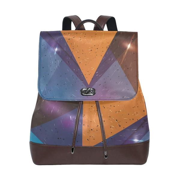 Leather Backpack Sling Purse Shoulder Bag for Women Mini Geometric Bag Backpacks for Middle School Girls