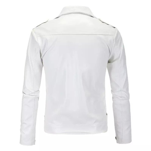 Mens Streetwear PU Lederjacken Metallknöpfe Reißverschluss Biker Jacken Schwarz Weiß Winter Windjacke