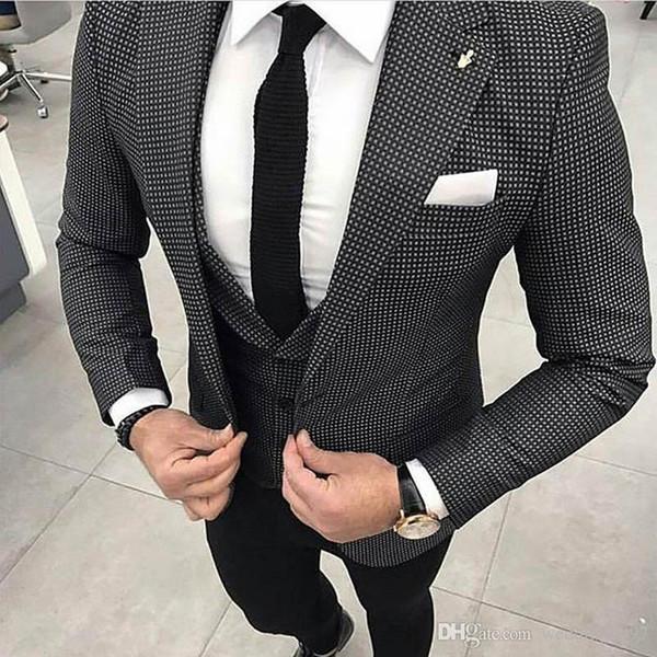 Slim Fit Erkekler 2018 Üç Parçalı Ceket Yelek Siyah Pantolon Suits 2018 Çentikli Yaka Terzi Yelek Blazer Düğün Smokin